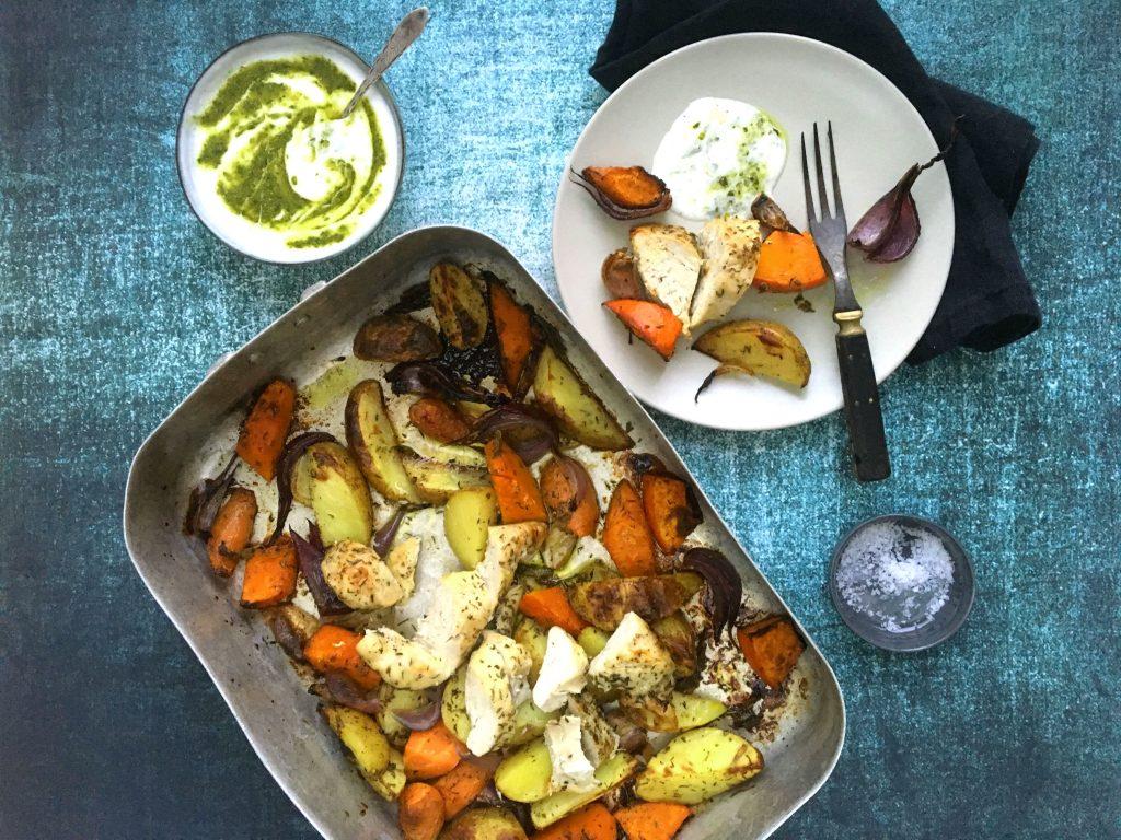 Alt i et fad kylling grøntsager
